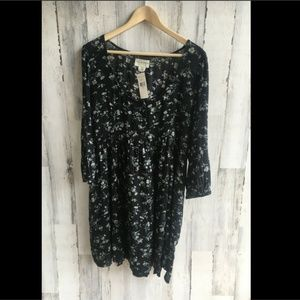 Denim & Supply Henley Babydoll Dress Black Floral